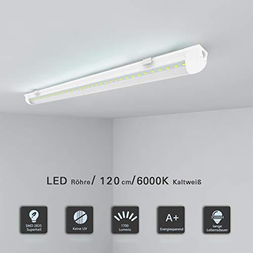 Leuchtstoffröhre 120cm komplett Set LED Röhre mit G13 Fassung T8 LED Strip 18W Kaltweiß 6000K 1700lm Deckenleuchte Unterbauleuchte für Küche Schranklicht Röhrenlampe Montagefertig klare Abdeckung