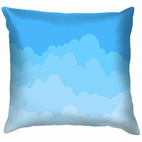N / A Cuadrada Protectora De Almohada,Suave Tirar Almohada Cojin,Sofá Funda De Almohada para Cojín,Diseño De Plantilla De Nube Azul