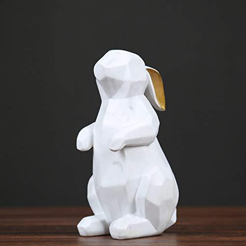 AXIANNV Skulptur Geometrie weißer Bär Kaninchen abstrakte Origami Papierkranich Ornamente Geschenke Veranda Wohnkultur Weinschrank Dekorationen-Kaninchen