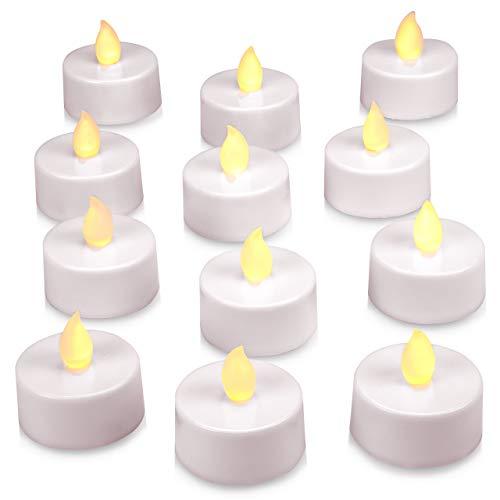 12er Set LED Teelicht weiß - batteriebetrieben mit Timer - Teelichtkerzen Xmas Romantiklichter Entspannungslicht Weihnachtsdeko für Innen
