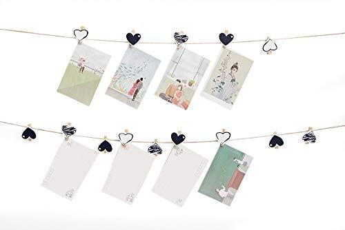 Quibine Lot de 50 Clips Photo en Bois, Pinces à Linge, Vêtement Papier Photo Craft DIY Clip 4.5 cm avec 10 m Ficelle de Jute