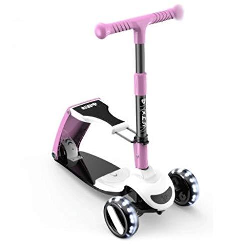 Scooter para niños puede sentarse y montar scooter para niños con altura ajustable, plegable, con 3 ruedas de equilibrio, para ejercicios de equilibrio (color: morado)