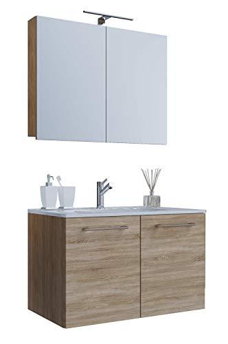 VCM 3-TLG. Waschplatz Set Waschtisch Waschbecken Keramik Sentas Spiegelschrank + 2 Drehtüren 60 cm, Sonoma-Eiche