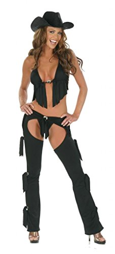 Nom de Plume, Inc Women's Sexy Lycra 3PC Cowgirl Chaps Costume Medium Black