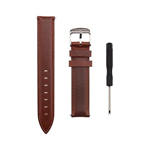 Reloj de pulsera de piel de 18 mm, correa de repuesto ajustable, correa de reloj inteligente clásica con pasador de liberación rápida, compatible con Samsung Galaxy Fossil Huawei marrón