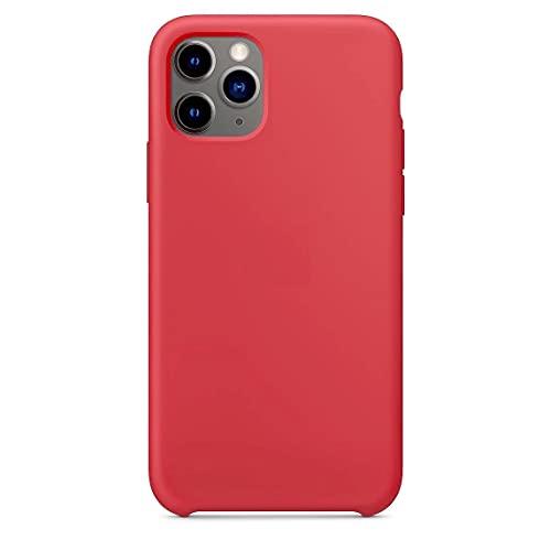 Funda de Silicona Silicone Case para iPhone 11 Pro MAX, Tacto Sedoso Suave, Carcasa Anti Golpes Duradera y Resistente, Bumper, Forro de Microfibra (Rojo Camelia)
