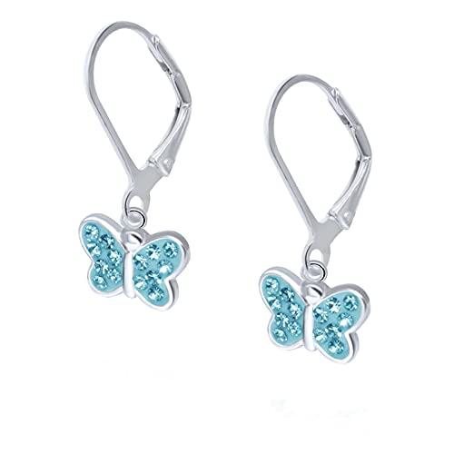FIVE-D Orecchini da bambina a forma di farfalla in argento Sterling 925, con custodia per gioielli (blu brisur)