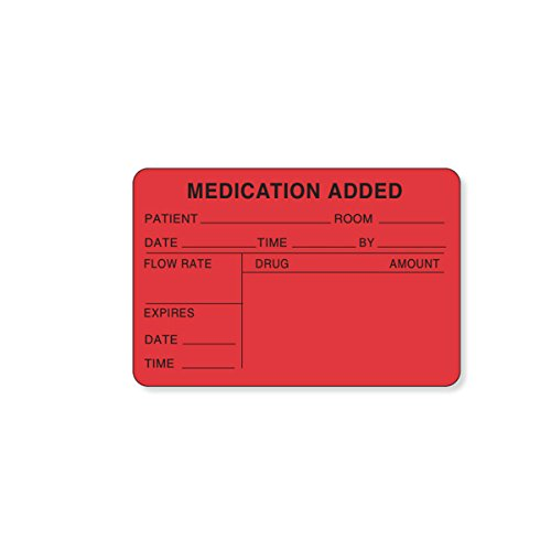 PDC Healthcare 59704609 Paper Label, Permanent, Medication Added, 3