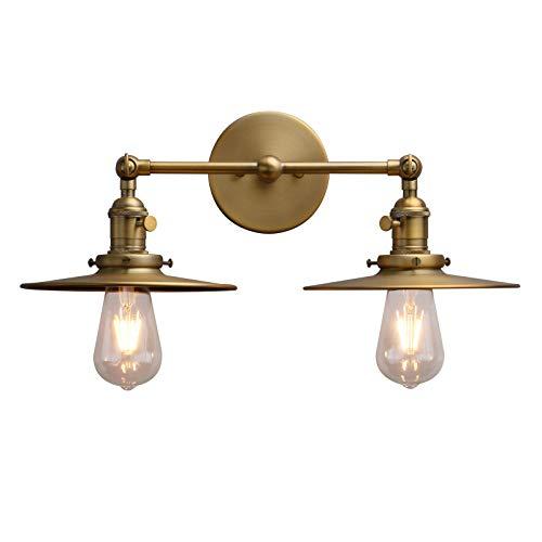 Phansthy Wandleuchte,2 Flaming,Metall-Schirm,Vintage Industrie Loft-Wandlampe,Antik Deko Design,Landhausstil,E27,Wandbeleuchtung,Küchenwandleuchte (antike Farbe)