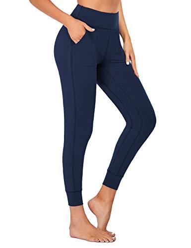 SEVEGO Leggings con Bolsillos Mujer Fitness Suaves Elásticos Cintura Alta para Reducir Vientre Transpirables Pantalones Jogger de Yoga Oscuro Azul XL