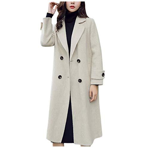 Xmiral Strickjacke Damen Einfarbig Jacke Mantel aus Kuscheligem Sweat Eleganter Offener Mantel KnopfUmlegekragen Umlegekragen Parka(a Beige,M)