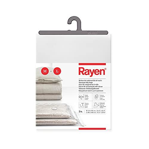Rayen - Bolsas al vacío para ropa. Fundas de almacenaje de ropa al vacio. Pack de 2 bolsas (55 x 90 cm y 80 x 100 cm). Transparente