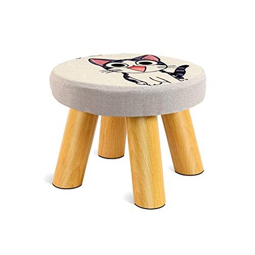 WEIZI Taburete para pies con diseño de sofá reposapiés de Tela Cama de Madera Maciza Taburete con escalones otomano de Madera tapizado Redondo reposapiés (patrón: Gatito)