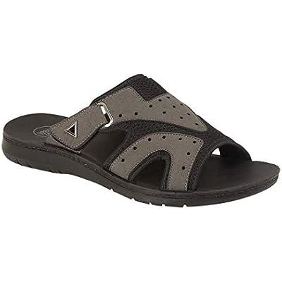 Mens Bruce Gezer Leather Look Slip On Sport Beach Surf Flip Flop Mule Sandals Shoe