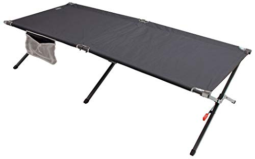 Rio Brands Gear Smart Cot XL Outdoor Military Style One-Piece Portable Folding Cot, Black