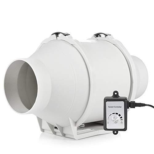 Hon&Guan Extractor de Aire Silencioso 100mm con Controlador de Velocidad Variable - Motor EC 110V-240V Ventilador de Conducto de Ventilación en Línea para Baño, Hidropónicos