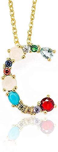 Collar Mujer Collar Hombre Collar Color Dorado Colgante Inicial Collar Circón 26 Letras Nombre de Personalidad Joyería Mujer Novia Accesorio Regalo Niñas Niños Collar