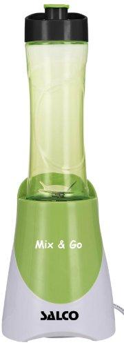 SALCO SM-14 Mix and Go Smoothie Maker Standmixer mit 2 Trinkflaschen, 300 ml und 600 ml, grün/weiß