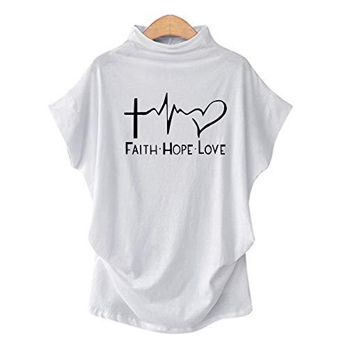 DREAMING-Camiseta De Manga Corta De Primavera Y Verano para Mujer Camiseta Suelta Cuello Alto Estampado Camisa De Fondo 5XL