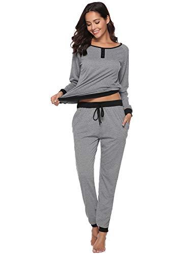 Aibrou Damen Zweiteiliges Pyjama Set, Lange Ärmel lose Schlafanzug mit Bündchen am Taille Grau S
