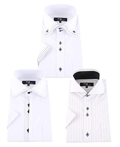 BusinessMan Support(ビジネスマン サポート)襟高 半袖ワイシャツ ストレッチ ノーアイロン 形態安定 3枚セット メンズ hhs 333-L