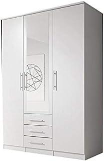 E-MEUBLES Armoire de Chambre avec 3 Portes (1 Porte avec Miroir) et Trois tiroirs | Penderie (Tringle) avec étagères et ti...