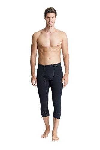 con-ta Thermo 3/4 Lange Hose mit Eingriff, Lange Unterhose für Herren, wärmende Unterwäsche mit natürlicher Baumwolle, Herrenbekleidung, schwarz Melange, Größe: 8