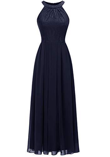 Dressystar 0040 Damen Maxi Lang Abendkleider Elegant Spitzen Ballkleid Ärmellos Hochzeit Marineblau M