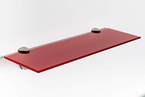 Elisando Glasregal rot 30 x 10 cm | 6 mm stark | Wandregal mit Halterung | Glasablage Glasregalboden...