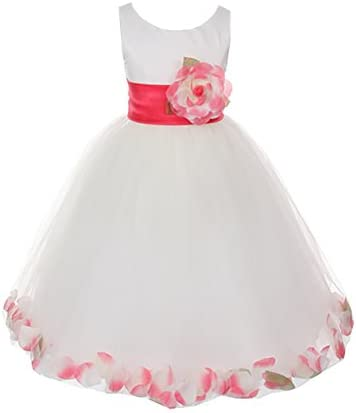Cinderella Couture Big Girls Ivory Satin Tulle Petal Flower Girl Pageant Dress product image