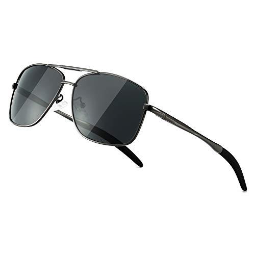 SUNGAIT Gafas de sol polarizadas Hombre UV 400 protección metal Marco Ciclismo Golf Conducción Pesca Deportes Gunmetal/Gris 0925