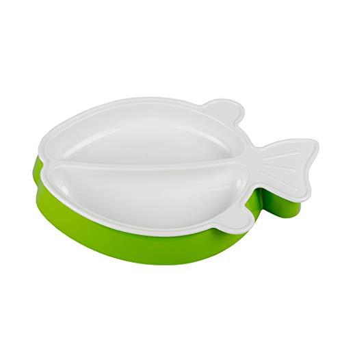 Love lamp Petits Poissons Style Assiette Bébé Carte Vaisselle Infantile Complément Alimentaire Bol Bol Vaisselle pour Enfants (Color : Green)