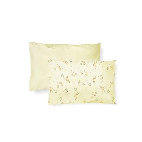Fronha Lisa e Estampada, Papi Textil, Amarelo, 40cmx28cm, Pacote de 2