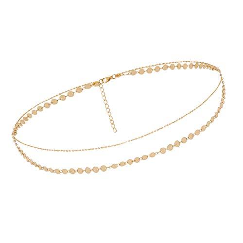 sharprepublic Metall Körperkette Damen Schmuck Gürtelkette Taillenkette Strand Bauchkette für Kostümparty Metallkette - Golden