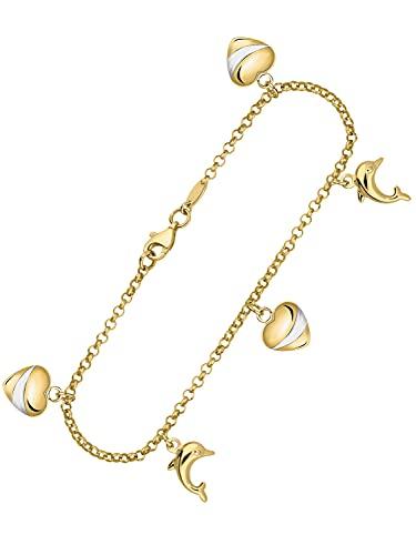 Stefania K-04626-G361-EB20-K18,5 cm - Bracciale a forma di cuore, in oro giallo 333 (8 carati), lunghezza 18,5 cm