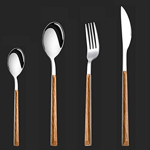 Cubertería de mesa para 12 personas, 48 piezas de acero inoxidable, cubiertos mango de madera, juego de cuchillos tenedor cuchara