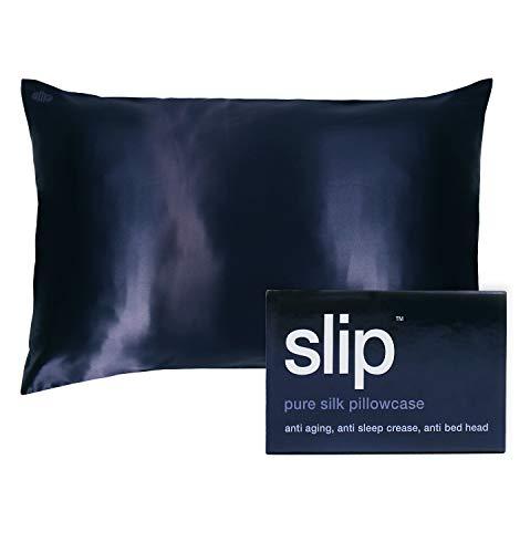 SLIP Silk Queen Pillowcase, Navy (20' x 30') - 100% Pure 22 Momme Mulberry Silk Pillowcase -...