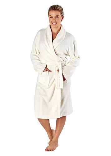 Ladies Selena Secrets Fleece Dressing Gown LN1067 Cream 14-16