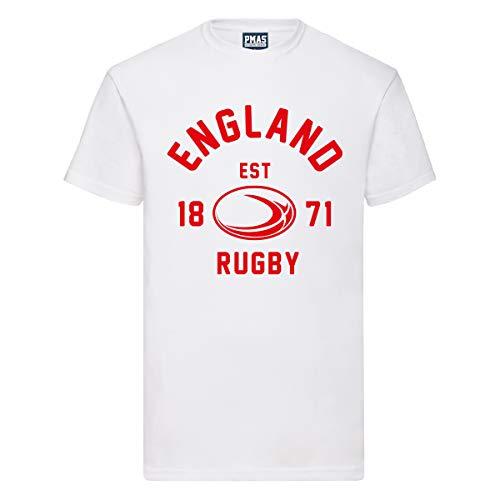 T-shirt pour homme avec ballon de rugby d'Angleterre, blanc, taille L