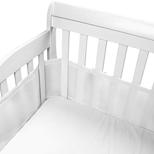 Parkside Wind Breathable Baby Crib Bumper 3D Breathable Cotton Mesh Bumper Pad Baby AntiCollision Crib Liner White