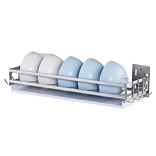 istBoom Wall Mounted Dish Rack with 8 Hooks, Stainless Steel Wall Dish Drainer for Kitchen Walls and Countertops, Perfect for Small Bowls and Utensils