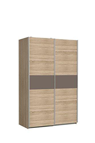 FORTE Ohio Kleiderschrank, Holzwerkstoff, Korpus in Sonoma Eiche Dekor mit einer Front in Sonoma Eiche Dekor und einer Bauchbinde in Cacao Supermatt, 120 x 61,2 x 190.50 cm