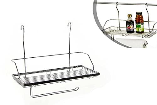 Kasahome Portarrollos de papel de cocina de metal estante soporte portaobjetos con ganchos para colgar 40 x 21 x 32 cm