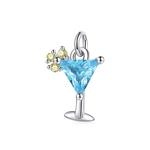 NewL Charm de plata de ley 925 con colgante de copa de vino de champán, para collar y pulsera, para hacer manualidades