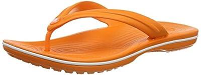 Crocs Crocband Flip Flop | Slip-on Sandals | Shower Shoes, Orange/White, 10 Women/8 Men