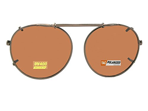 Semi Round Polarized Clip On Sunglasses (Dark Bronze-Polarized Amber Lens, 52mm Wide x 49mm Height)