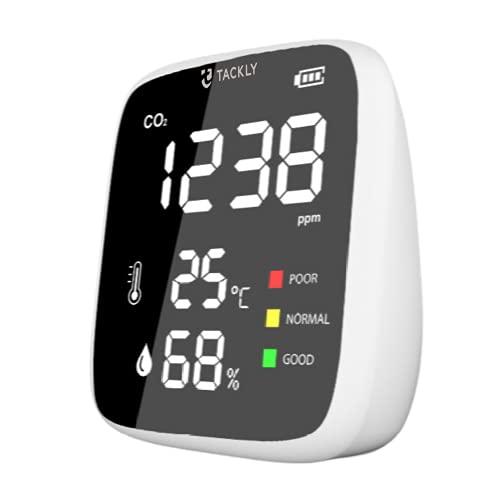 TACKLY Mini Co2 Messgerät raumluft - CO2 Ampel schule und Luftqualität Messgerät - co2 melder + messgerät luftfeuchtigkeit - Air quality monitor and co2 sensor