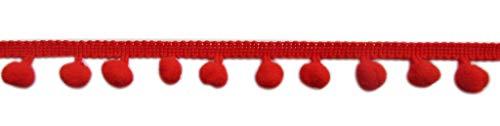 YCRAFT One Roll 18 Yards Ball Fringe 7/8' Wide Pom Pom Trim Ribbon Sewing-Red
