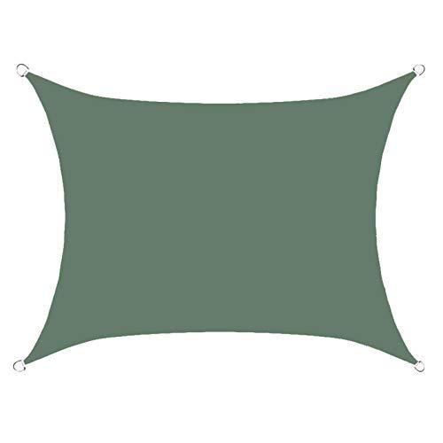 BBVS 2.5 * 3m Vela de Sombra Rectangular Impermeable, toldo para Exteriores, toldo Anti-Ultravioleta, Adecuado para Patio al Aire Libre, jardín, Patio Trasero con Cuerda (Verde Oscuro)