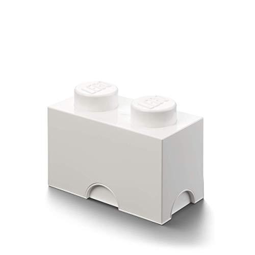 LEGO Contenedor para almacenaje con diseño de ladrillo 2, plástico, Blanco, Medium